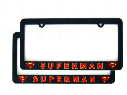 (A Set of Two Plastic License Plate Frame - Superman Classic Shield)