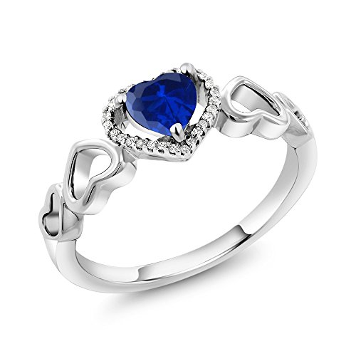 Sapphire Accent Ring (10K White Gold 0.81 Ct Heart Shape Blue Simulated Sapphire Diamond Accent Engagement Ring (Size 6))