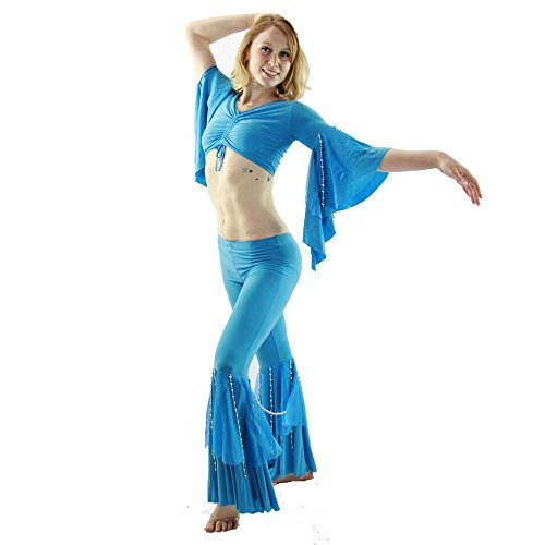 Danzcue Bead String 2-Piece Belly Dance Costume(Belt no included) Large Light Blue (Belly Dance Costumes Large Ladies)