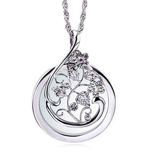 - QMM necklace Pendant Flower Sweater Necklace for Women Rhodium Gold Color Magnifying Glass Pendant for Mum,A
