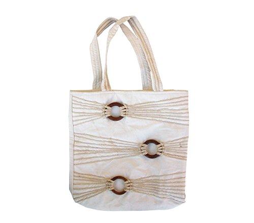 Borsa shopping bag 36x37x12cm mod. Sadira BEIGE con dettagli in legno e corda. MWS