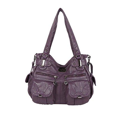 Angelkiss Women's Handbag Large Double Zipper Multi Pocket Washed Shoulder bag Designer Handbags for (Designer Pocket)