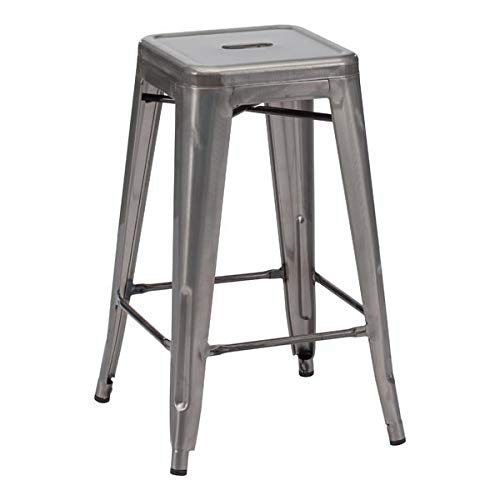 - Zuo Modern 106114 Marius Counter Stool (Set of 2) in Gunmetal, 100% powder coated steel for durability, 250 lbs. weight capacity, Dimensions 16.3
