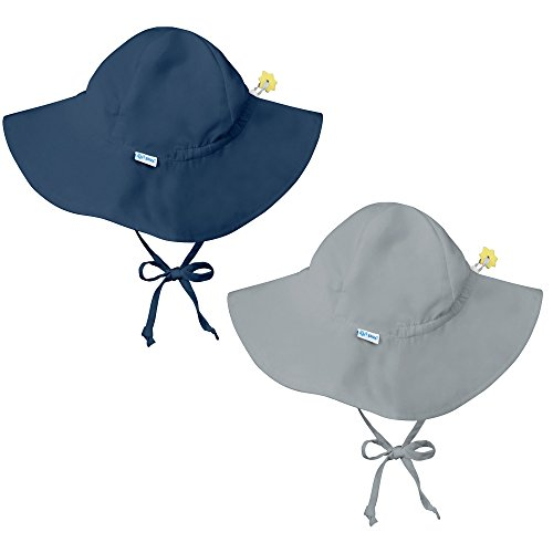 - i play. 2 Pack UPF 50+ Sun Protection Brim Toddler Sun Hats-2T-4T-Navy Blue-Grey