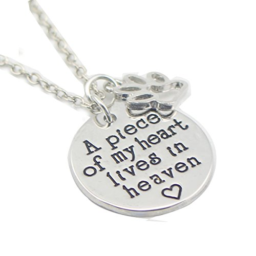 A Piece Of My Heart Lives In Heaven Memorial Necklace Jewelry Gift