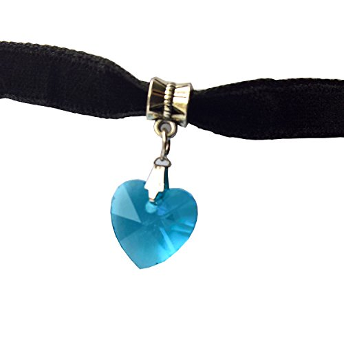 oker with Blue Heart Crystal on an Oxidized Bail with 1.75
