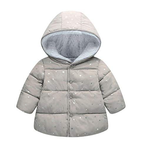 ❤️Mealeaf❤️ Baby Boys and Girls Clothes with Children Girl Outerwear Winter Hooded Winter Jacket Fashion Kids Star Coat Cloth (3-4 Years Old, Gray) by Mealeaf_❤️Swimwear