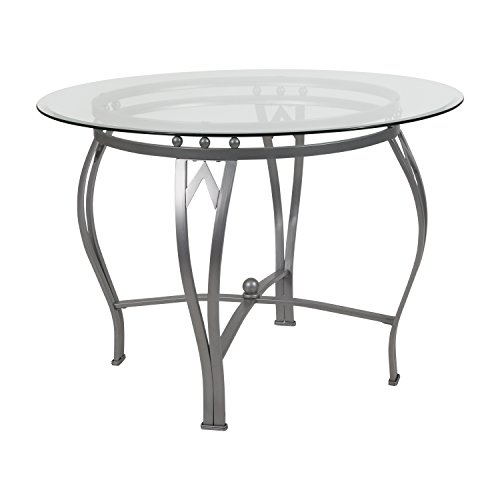 Flash Furniture Syracuse 42'' Round Glass Dining Table with Silver Metal Frame