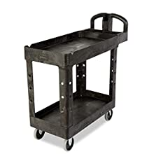 Rubbermaid Commercial Products 2-Shelf Utility/Service Cart, Small, Lipped Shelves, Ergonomic Handle, 500 lbs. Capacity, for Warehouse/Garage/Cleaning/Manufacturing (FG450088BLA)