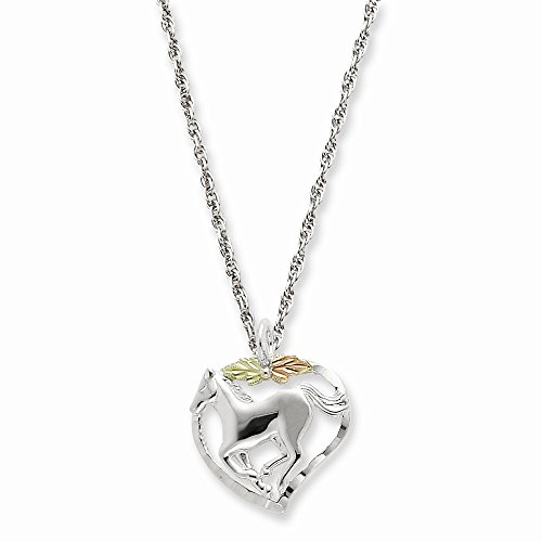 Perfect-Jewelry-Gift-Sterling-Silver-12K-Horse-In-Heart-Necklace