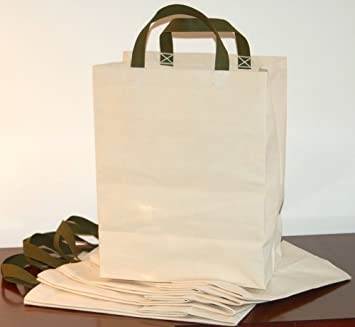 Amazon.com: Turtlecreek Cotton Canvas Reusable Grocery Tote Bags ...