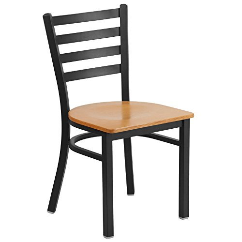 (Flash Furniture HERCULES Series Black Ladder Back Metal Restaurant Chair - Natural Wood Seat)