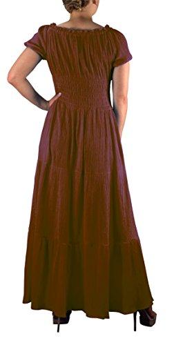 Peach Couture Gitana Gorra Mangas De Boho Alforzada Cintura Con Gradas Del Vestido Maxi Del Renacimiento Cotton Brown