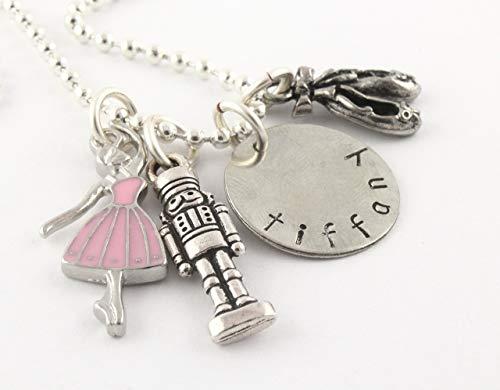 (Ballet Nutcracker Silver Charm Necklace - Personalized Custom Jewelry Gift for Ballerina - Dance Nut Cracker)