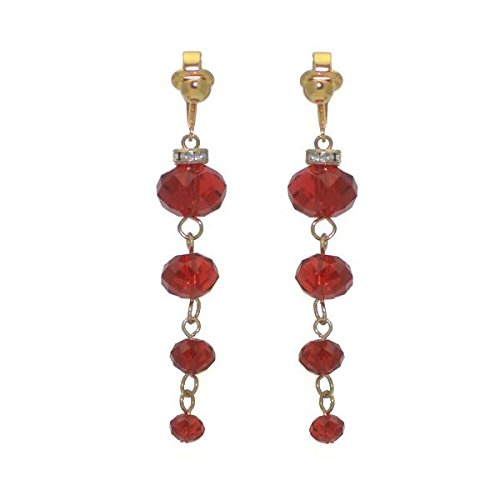 DAGNY Gold plated Red Cascade Clip On Earrings