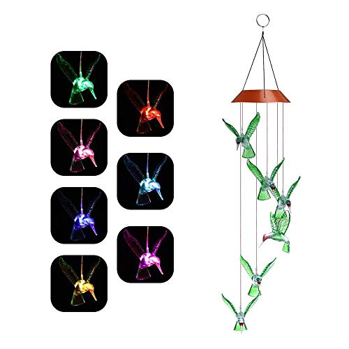 MYSWEETY LED Solar Mobile Wind Chime, Color-Changing Solar Powered LED Hanging Lamp Waterproof Six Hummingbird Wind Chimes for Outdoor Indoor Home Yard Garden - Mobile Solar