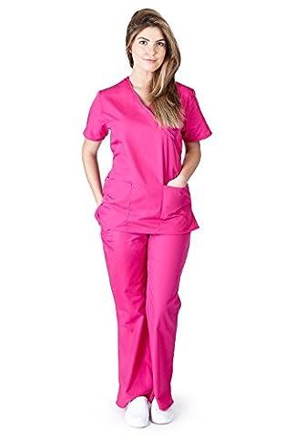 Natural Uniforms Women's Mock Wrap Scrub Set (Hot Pink) (Medium) - Hot Pink Scrub Pants