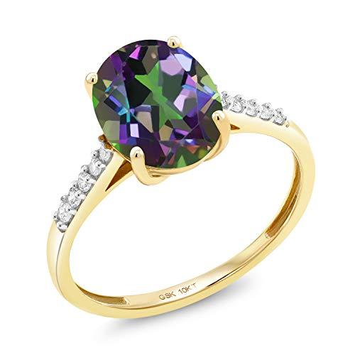 Gem Stone King 10K Yellow Gold 2.82 Ct Oval Green Mystic Quartz White Diamond Ring (Size - Ring 10k Quartz