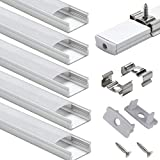 LED Aluminum Channel with Cover - StarlandLed 6-Pack 1Meter/3.3ft LED Channels and Diffusers with End Caps and Mounting Clips for LED Flexible Light Strip