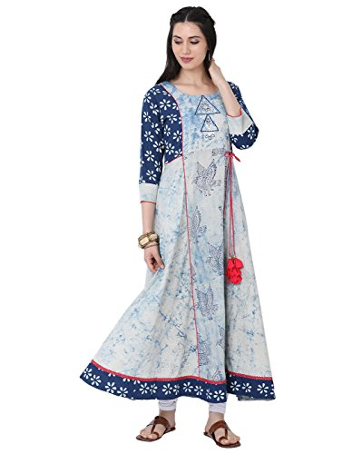 Designer Salwar Kurta - Lagi Designer Women's Rayon Straight Kurta Indian Tunic Top Womens Printed Blouse India Clothing by S, Blue(ka5029)
