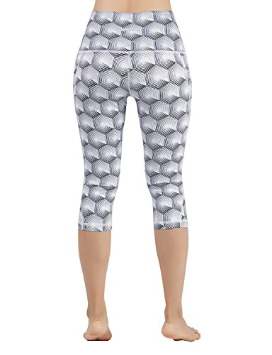 ODODOS High Waist Out Pocket Printed Yoga Pants Tummy Control Workout Running 4 Way Stretch Yoga Leggings,Crosstalk, Small