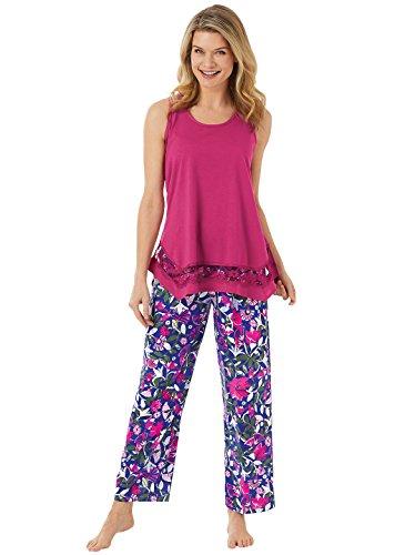 Lace Trim Printed Pajamas, Color Pink, Size Extra Large (2X), Pink, Size Extra Large (2X) ()