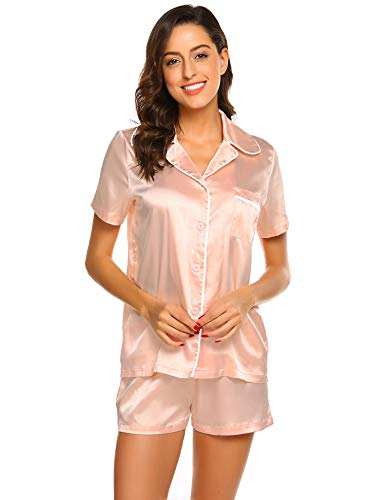 (Satin Sleepwear Set for Women Button Down Short Sleeve Loungewear(Pink,XXL))