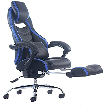 Merax Racing Style Executive PU Leather Swivel Chair with Footrest and Back Support Reclining (Blue)