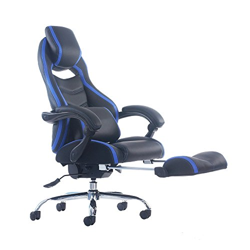Merax Racing Style Executive PU Leather Swivel Chair with Footrest and Back Support Reclining (Blue) by Merax
