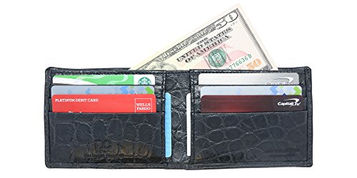 Black Genuine Alligator Millennium Bifold Wallet – Alligator Inside and Out RARE - Factory Direct - Gift Box – Slim Bllfold - Made in USA by Real Leather Creations FBA297 by Real Leather Creations (Image #1)