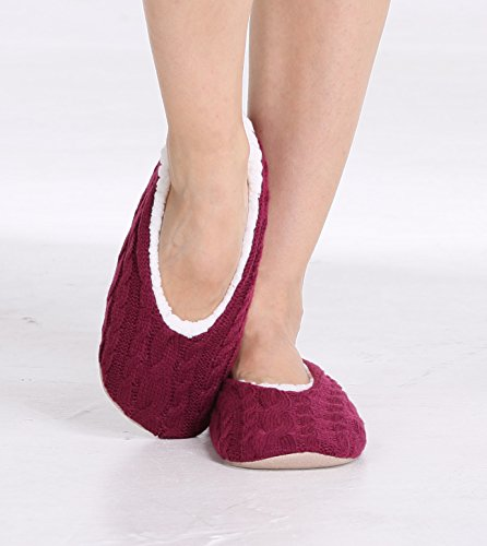 Pembrook Ladies Cable Knit Slippers D4IdZdCHjN