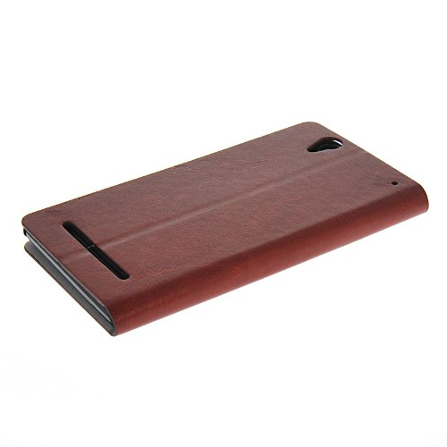 KCASE Slim Wallet Card Pouch Flip Leather Stand Case Cover For Sony Xperia T2 Ultra Brown