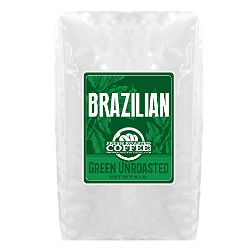 Green Unroasted Coffee, 5 Lb. Bag, Fresh Roasted Coffee LLC. (Brazilian Cerrado)
