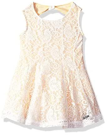 DKNY Girls' Toddler Fashion Dress, Flower Lace Pale Banana, 2T
