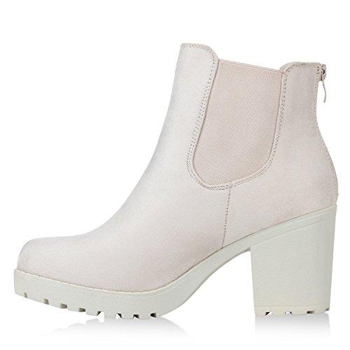 Stiefelparadies Damen Stiefeletten Chelsea Boots Flandell Nude Velours