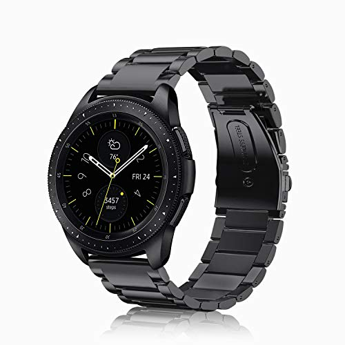 Fintie Band for Galaxy Watch 42mm, Galaxy Watch Active, 20mm Stainless Steel Metal Replacement Bracelet Strap Wrist Bands for Samsung Galaxy Watch Gear Sport and Gear S2 Classic Smartwatch - Black