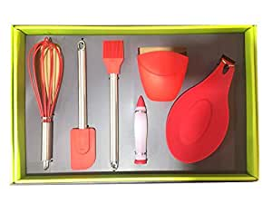 6Pcs Set Silicon Pastry Tools Set (Red)