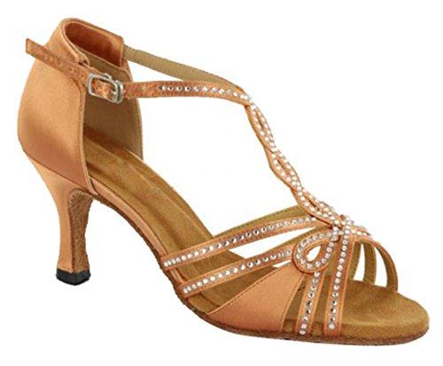 MGM-Joymod - Jazz Y Contempóraneo de Satén Mujer Brown/7.5cm Heel