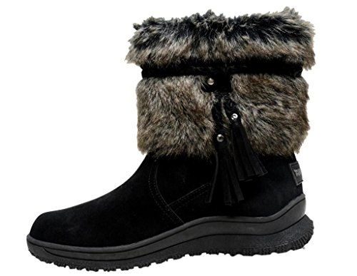Minnetonka Women's Everett Suede Fur Boot Round Toe - 80080, Black, Size 7.0