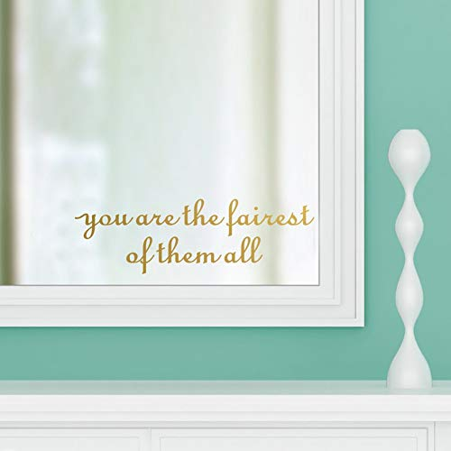 IARTTOP You are The Fairest of Them All Vinyl Decal Inspirational Beauty Quotes Sticker Removable Mirror Saying Wall Art Decor, Gold (Princess Mirror Wall Decals)