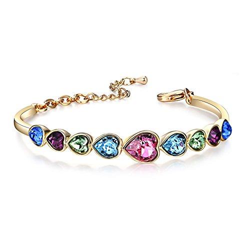 Triple Strand Heart Bracelet - F-U Ocean of Heart Bracelet Crystal Colorful Heart Shape AAA Cubic Zirconia Bracelets Oval Tennis Bracelet for Women 18k Rose Gold Plated