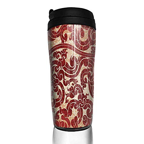 coffee cups with lids 16 oz Antique,Thai Culture Vector Abstract Background Flower Pattern Wallpaper Design Artwork Print,Ruby 12 oz,thermo cup for coffee ()
