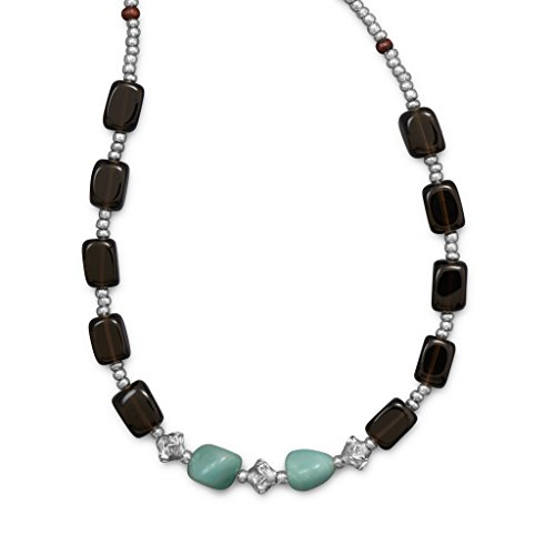 Smoky Quartz and Amazite Toggle Necklace -