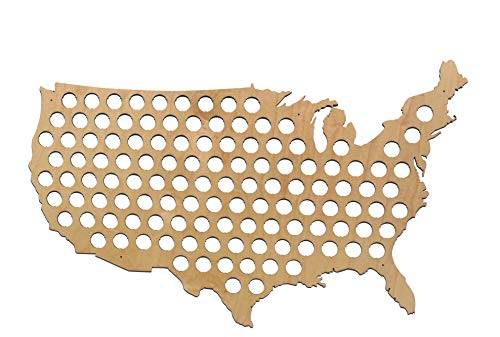 USA Beer Cap Map by Skyline Workshop (Large Maple)