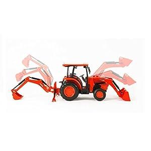 "NewRay New Ray 1:18 Kubota L600 Tractor Loader & Backhoue 14"" Ic&Lite Diecast Vehicle"