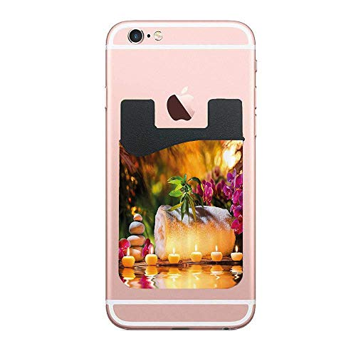 Cellcardphone Asian Classic Spa Joy in The Garden with Romantic Candles and OrchidsPhone Wallet Credit Card Holder Most Smartphones, Table, Refrigerator, Door 2 PCS