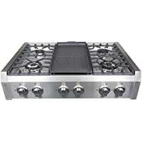Cosmo S9-6 36 in. Professional Style Gas Rangetop, Cooktop, 6 Performance Burners with Iron Grates, Metal Knobs in Stainless Steel