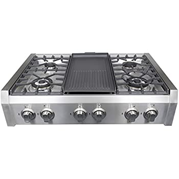 Good Cosmo Professional Style Slide In Gas Cooktop In Stainless Steel  36 In