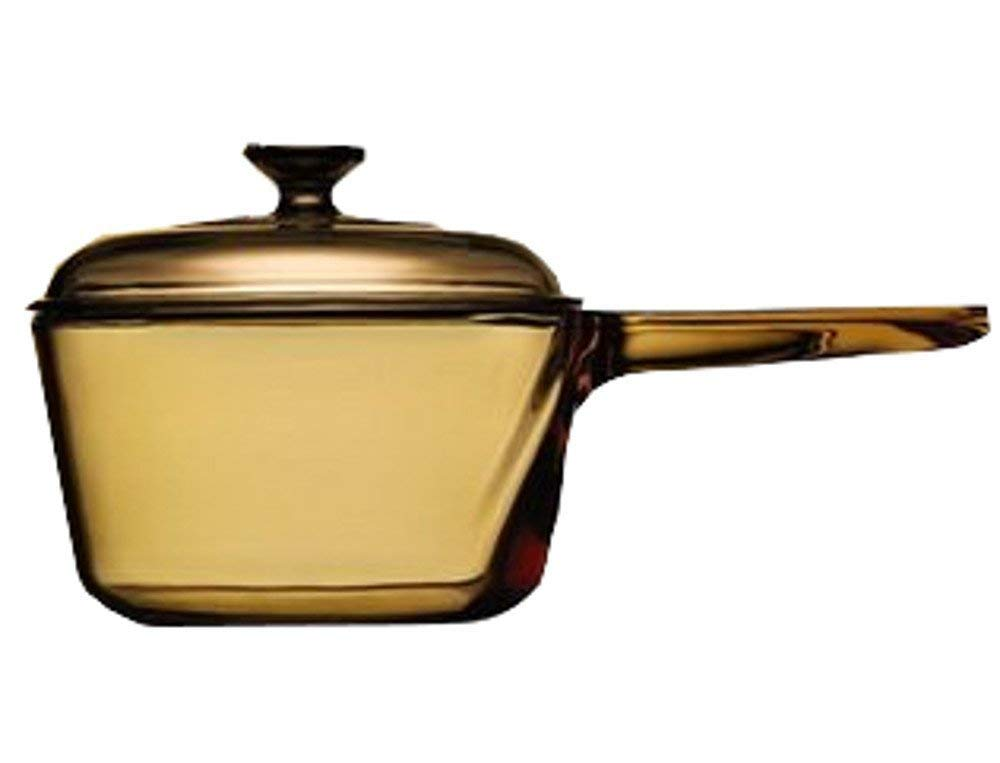 Vintage Corning Visions Visionware 1.5L Amber Sauce Pan Pot w/ Lid