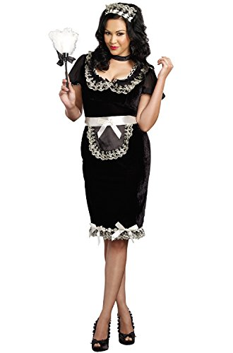 Dreamgirl Women's Plus-Size Keep It Clean Maid Costume, Black, 1X/2X -